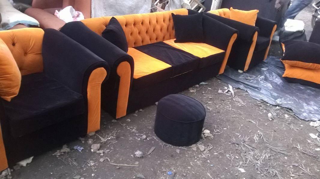Iko Co Ke Black And Orange 5 Seater Sofa Set